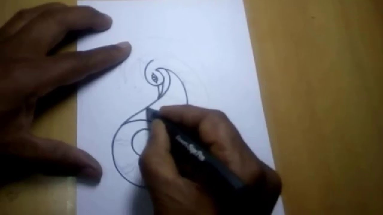 drawing tutorial peacock free hand sketch youtube