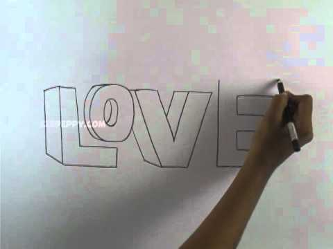 how to draw love 3d