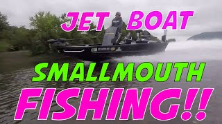 Smallmouth Fishing on the Susquehanna River!  Catching a bunch of Smallmouth Bass in a Jet Boat!