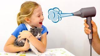 Nastya tem dois gatinhos, uma história sobre como cuidar degatinhos