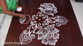 creative rose flower rangoli design with 9*5 dots II simple kolam for beginners II rangoli designs