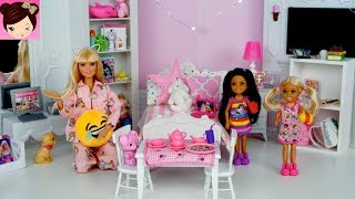 Barbie Chelsea Evening Routine  Pink Bedroom Sleep Over - Pajama Party