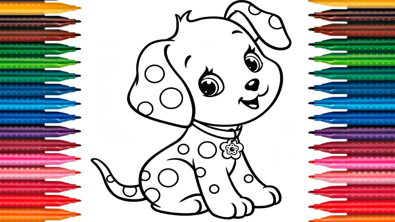 Drawing Puppy How To Draw Dog Colors Picture Coloring Book Fun Painting Page