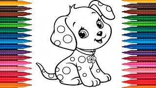 Drawing Puppy Learn How to Draw Dog Colors Picture Coloring Book Fun Painting Dog Coloring Page