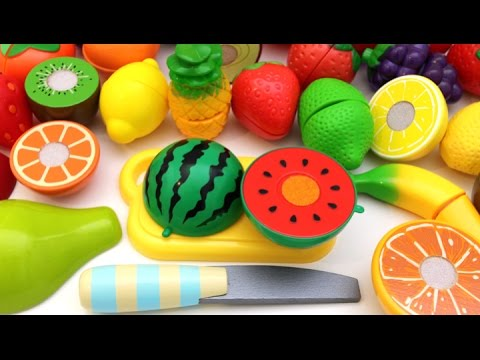 Thumbnail: Learn Colors with Toy Velcro Cutting Fruit Playset for Children RL