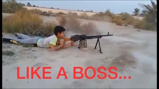 7 years old kid fired a PKC machine gun like a boss (fortnite in real life) (gta5)