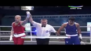 Победа Василия Левита над узбекским боксером на ЧА-2017 в Ташкенте.