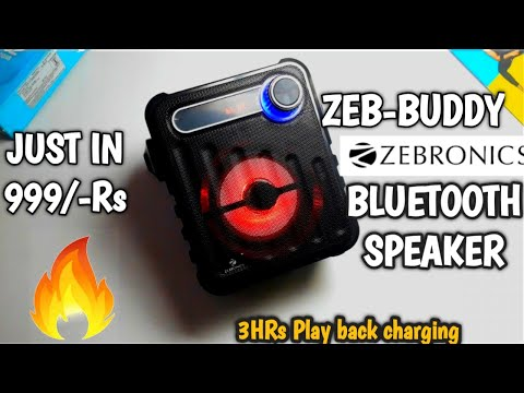 Zebronics bluetooth speaker||Zeb-Buddy portable bluetooth speaker unboxing and review+testing