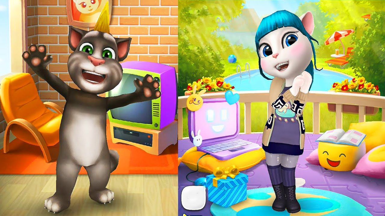 My Talking Tom VS My Talking Angela   Cartoon Games Kids TV   YouTube