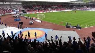 RWE gegen  1. FC Magdeburg nach 25 Schweigeminuten - Support