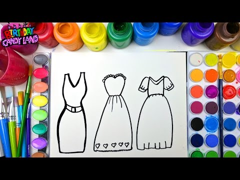 Coloring Page of Pretty Dresses to Color with Watercolor for Children to Learn Colors