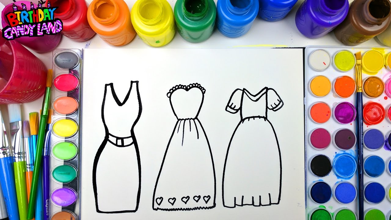 Coloring Page Of Beautiful Dresses To Color With Watercolor For Children Learn Colors 1 4K