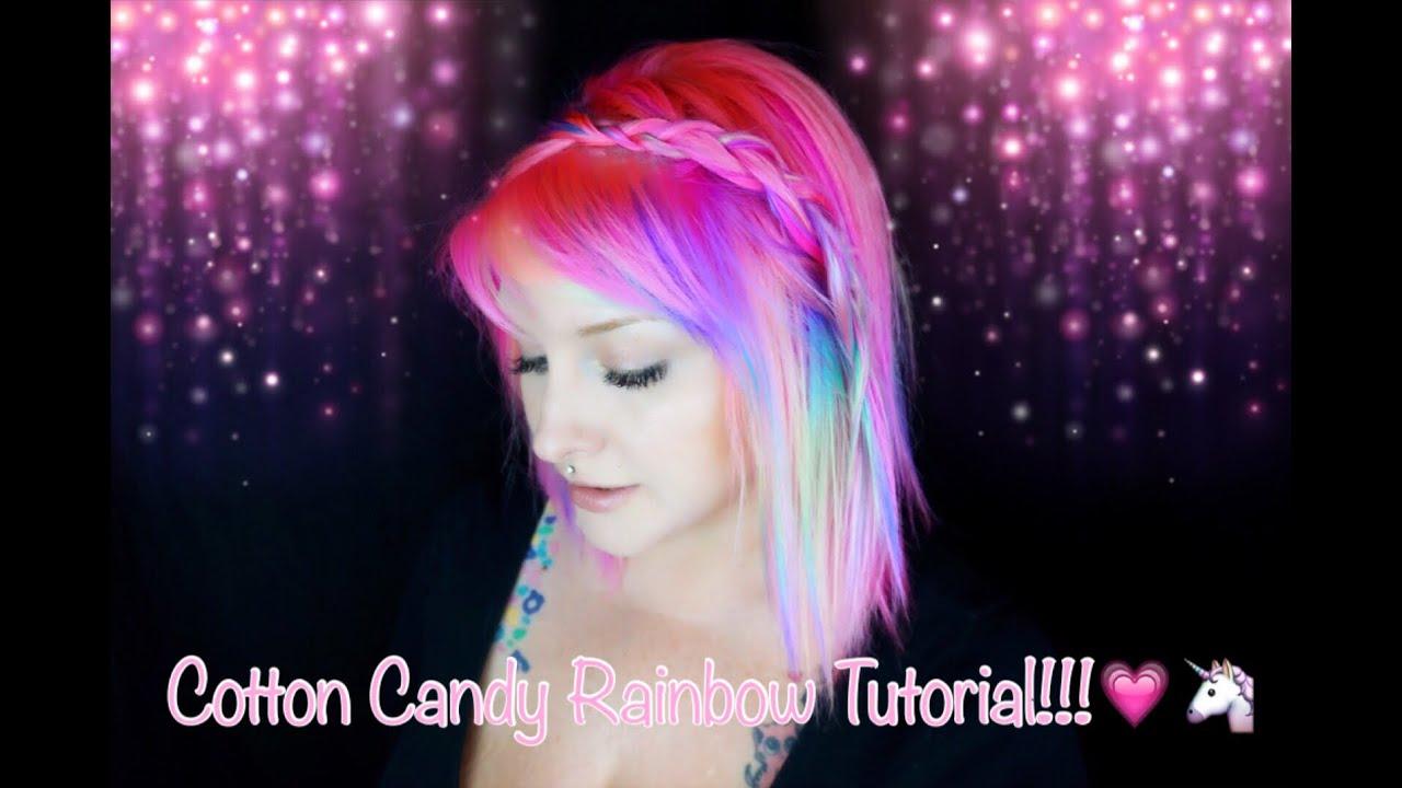 Cotton Candy Rainbow Hair Tutorial - YouTube