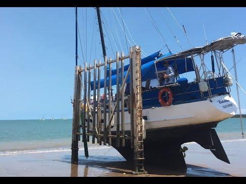 Tying onto Careening Poles Episode 59 (Sailing Catalpa)