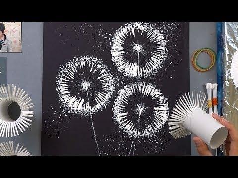 Toilet Paper Rolls Dandelion Q Tip Painting Technique |  Easy Creative Art