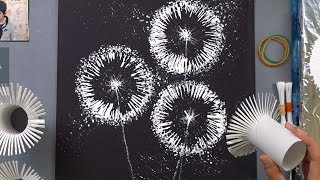 Toilet Paper Rolls Dandelion Q Tip Painting Technique |  Easy Creative Art