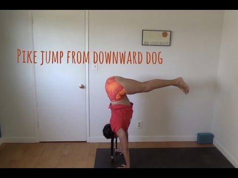 yoga handstand pike jump from downward dog instruction