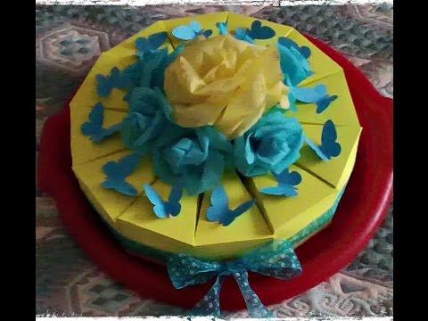 как сделать бумажный торт. Kraft paper cake with a surprise