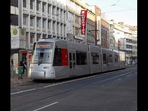 Tour in Düsseldorf with Tram (Straßenbahn), December 2013 - Part 2 [HD]