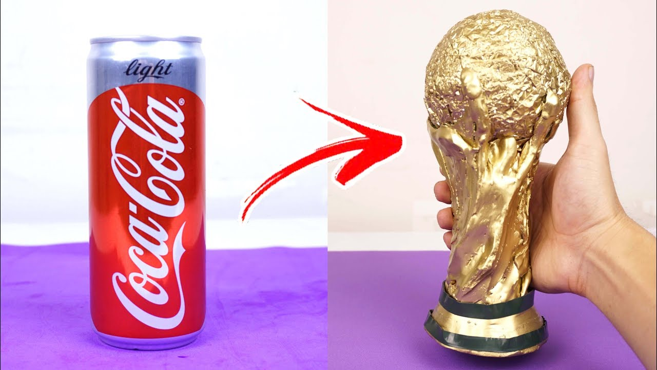 How To Make The World Cup Trophy from Coca Cola - Coca Cola Life Hacks