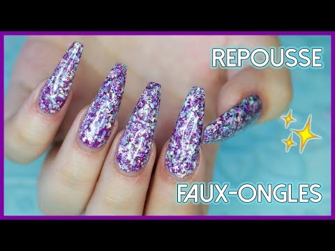 FAUX-ONGLES CHEZ SOI #2 REPOUSSE | Acrylique & Gel Pailleté 💅🏼