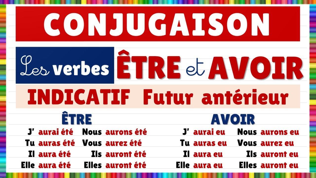 Conjugaison Les Verbes Etre Et Avoir A L Indicatif Futur Anterieur Youtube