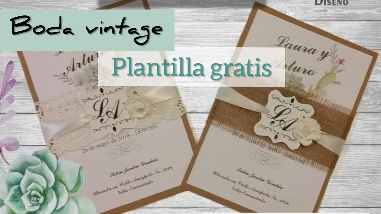 DIY: Invitación vintage + plantillas gratis - YouTube