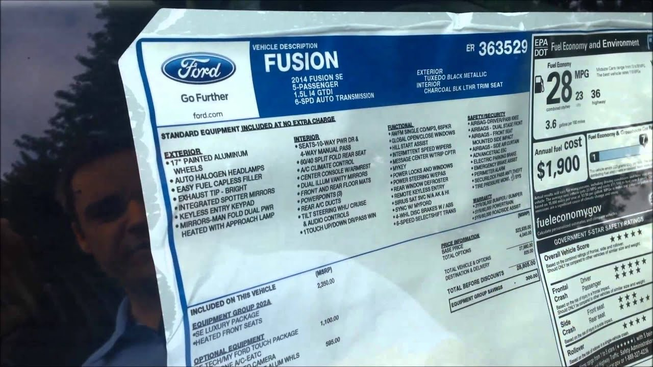 How To Understand A New Ford Window Sticker Youtube