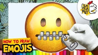 HOW TO DRAW THE ZIPPER MOUTH FACE EMOJI   Awesome Emoji Drawing For Kids   BLABLA ART