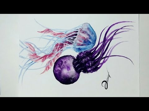 Speed Drawing - JELLYFISH 【Watercolor/Aquarela Speedpaint】