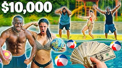 $10,000 DODGEBALL CHALLENGE!! (DON'T FALL IN THE POOL)