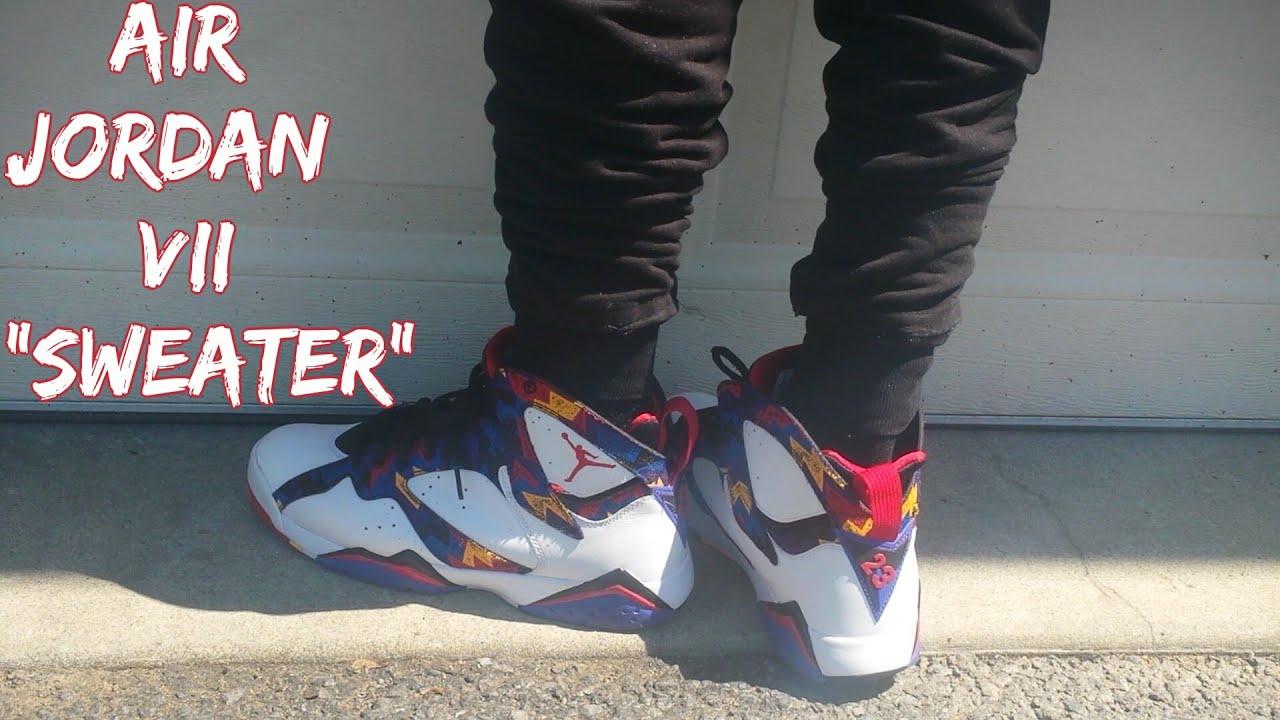 e20e9997df6cdd Sweater Air Jordan Retro 7 (Nothing But Net) On-Feet Review ...