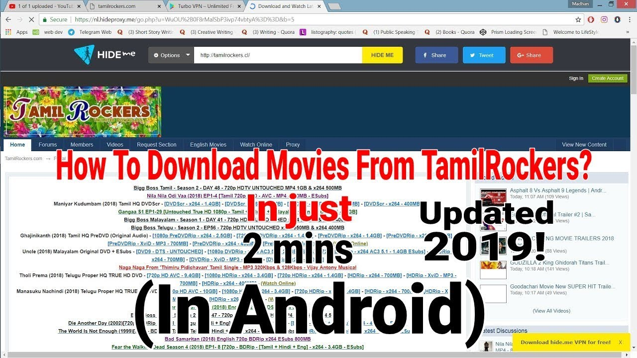 How to download new movies from TamilRockers ? 2019 100% WORKING