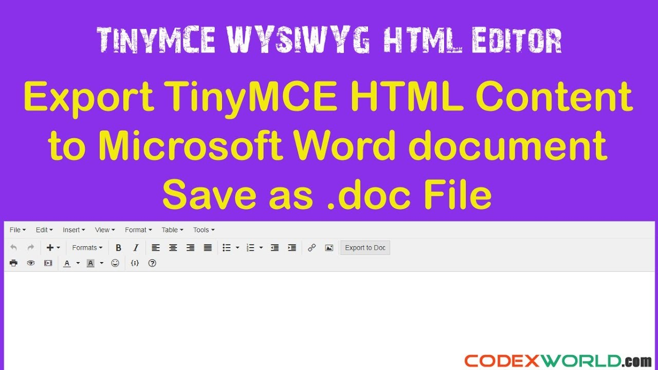 How to Export TinyMCE Content to MS Word Document - CodexWorld