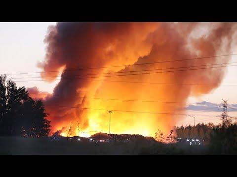 Ogromny pożar w sortowni śmieci w Olsztynie