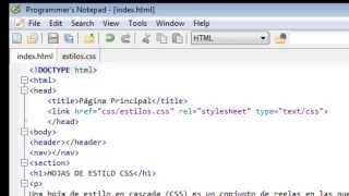 Creación y vinculación hoja de estilos CSS a un documento HTML