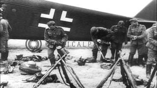 German bomber aircraft drop bombs over Norway during Operation Weserubung. HD Stock Footage