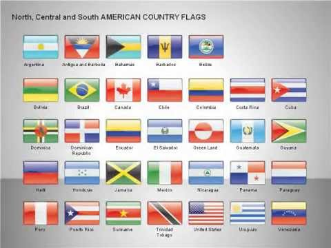 Free North, Central And South America Countries Flags