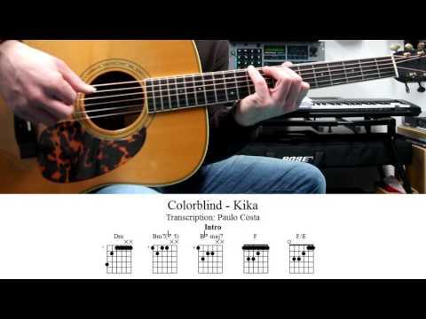 Colorblind, Kika, Lição de Guitarra, TAB, Como tocar, Tutorial