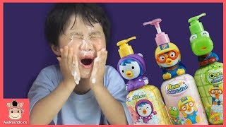 뽀로로 로션 귀여운 아기 얼굴 바르기 ♡ 장난감 친구들 도전 놀이 Bath Song Pretend play Pororo lotion toys | 말이야와아이들 MariAndKids