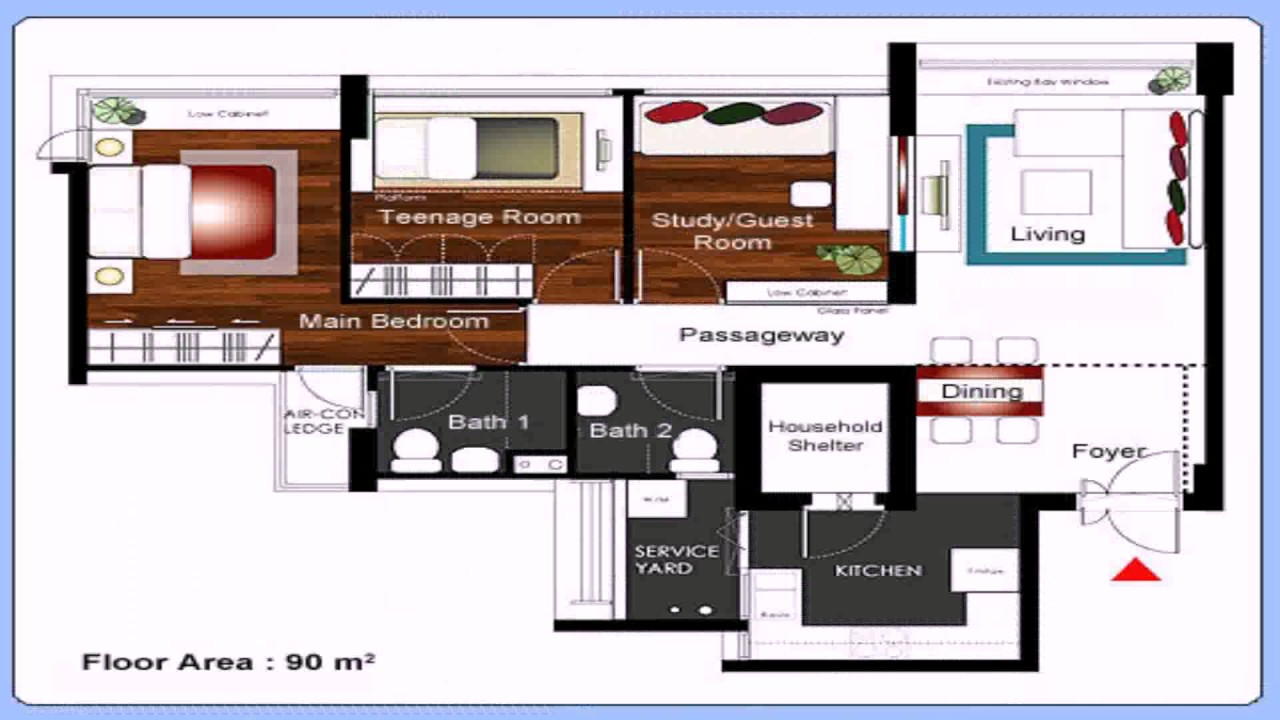 Hdb Floor Plan 4 Room - YouTube