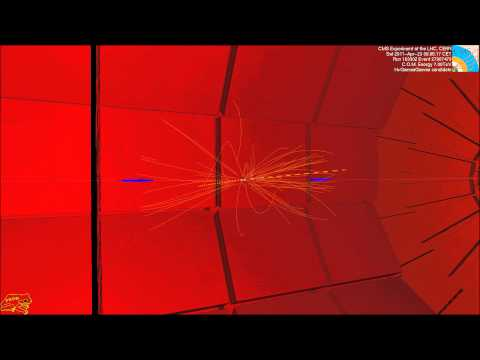 LHC collision event at CMS showing two high energy photons (CMS Higgs search)