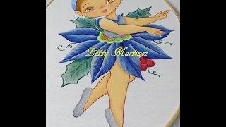 Pintura en Tela - Flor Nochebuena - Niña Navidad 4