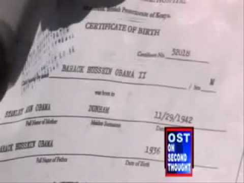 Barack H Obama Born in Kenya The REAL Birth Certificate ! - YouTube