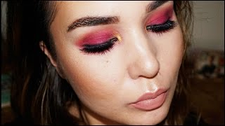 Sultry Purple Pink Smokey Eye w Nude Lips | ABH & Morphe Eyeshadows