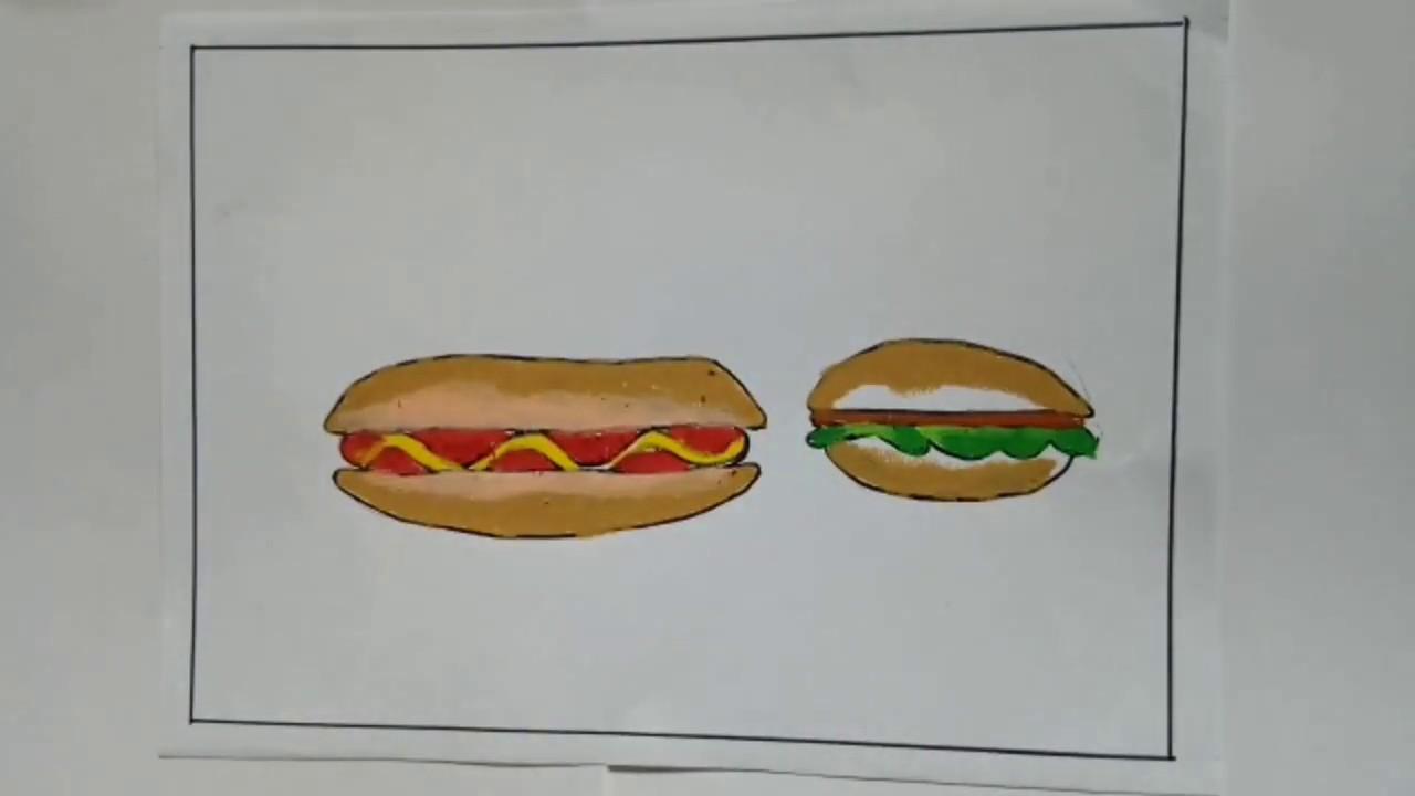 Mewarnai Hotdog Dan Hamburger Coloring For Kids
