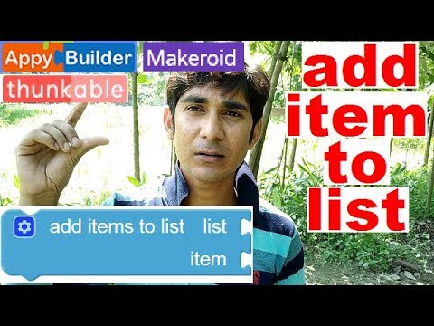 Add item list bloc uses thunkable, appybuilder, makeroid. make apps without coding hindi.