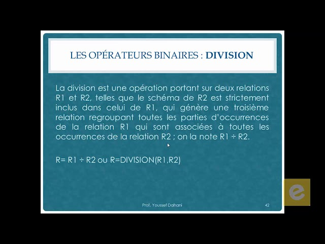 SQL 9: Algèbre relationnelle: Les Opérateurs Binaires: Division