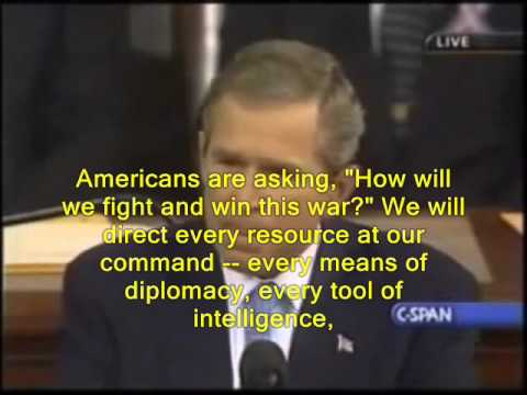 "President Bush Addresses 2001- with Subtitle ! ""War on Terror"""