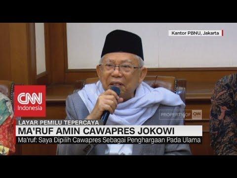 Ma'ruf Amin: Saya Dipilih, Sebagai Penghargaan Pada Ulama; Ma'ruf Amin Cawapres Jokowi
